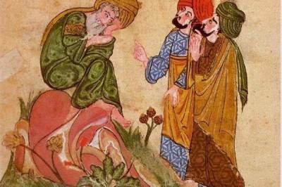 Sokrati duke u dhënë mësim Platonit dhe Aristotelit; nga një dorëshkrim që ruhet në pallatin Topkapi, në Stamboll.